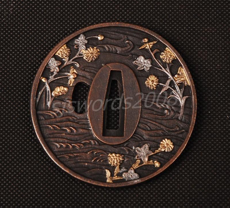 Japanese Sword Tsuba Alloy Spot Guard Plum Blossom Carved Sj011