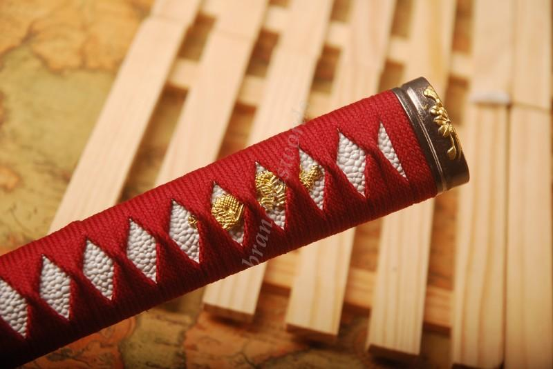 Samurai Sword Japanese Sword Katana Handle Red Ito White Rayskin Tsuka H34