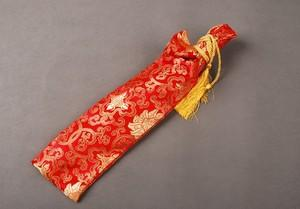 Silk Bag Red Peony Design For Japanese Samurai Sword Warrior Tanto Knives Qdx1