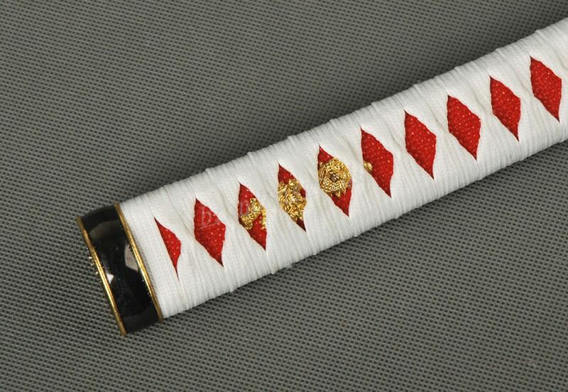 White Ito Red Rayskin Tsuka Samurai Sword Japanese Sword Wakizashi Handle Zj4