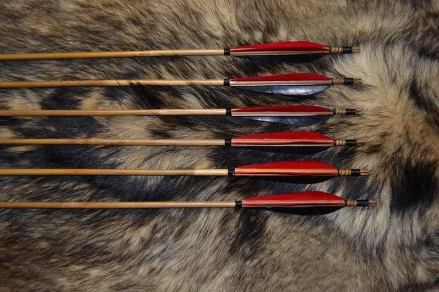 Bamboo Wood Arrow Turkey Fletching 45 Steel Head For Traditional Recurve Bow