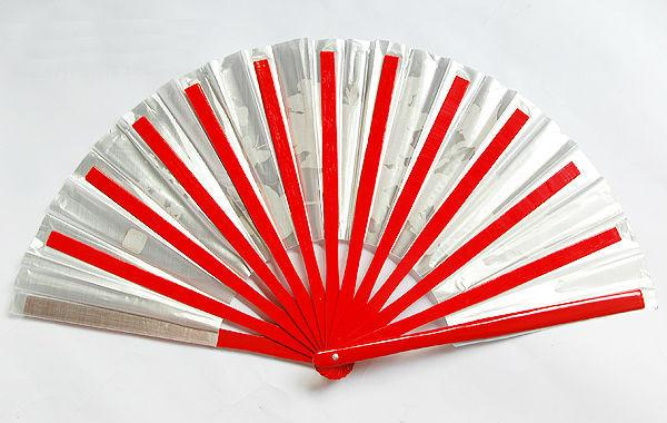 Peony Butterfly Bamboo Fan Red Silver Right Hand)13.4