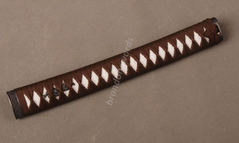 Samurai Sword Japanese Sword Katana Handle Brown Ito White Rayskin Tsuka H33