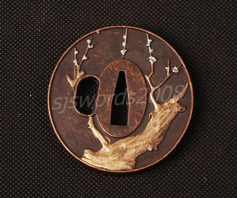 Plum Blossom Tree Carved Tsuba Guard Alloy For Japanese Sword Sj052