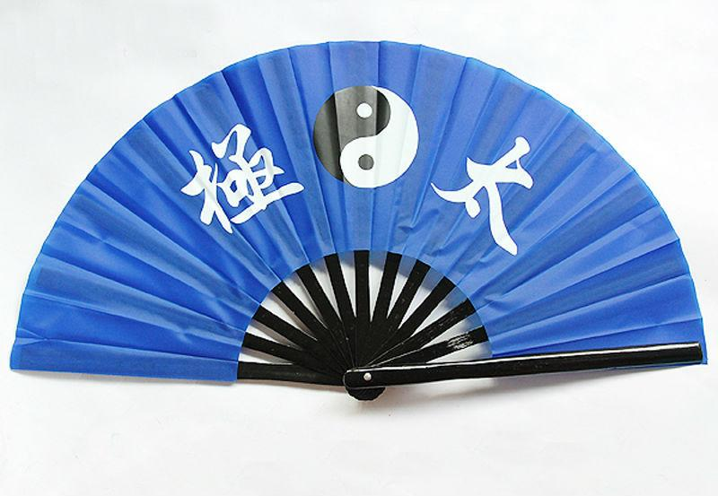 5pcs Chinese Tai Chi Martial Arts Eight Trigrams Kung Fu Bamboo Fan Black Frame Blue Face