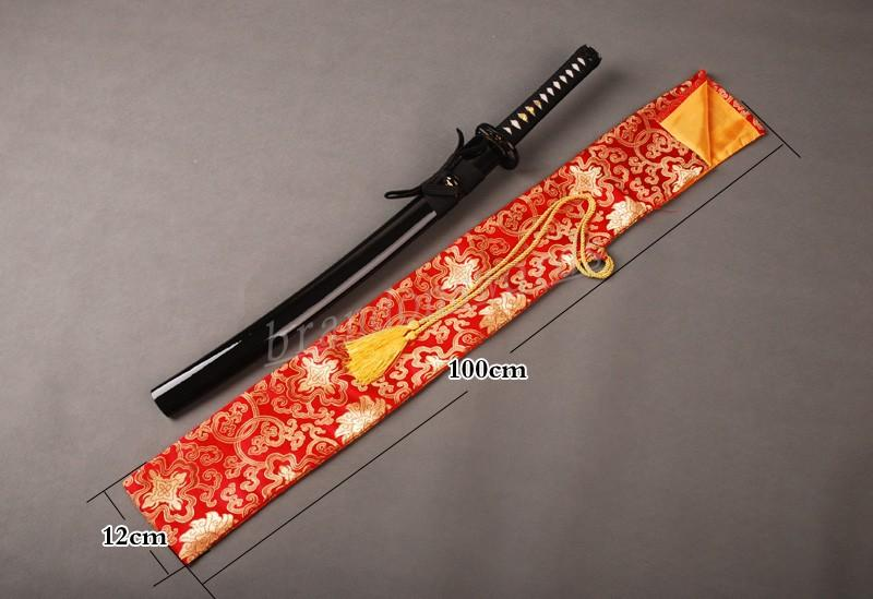 Japanese Samurai Sword Wakizashi Good Quality Nice Yellow Peony Red Sword Bag