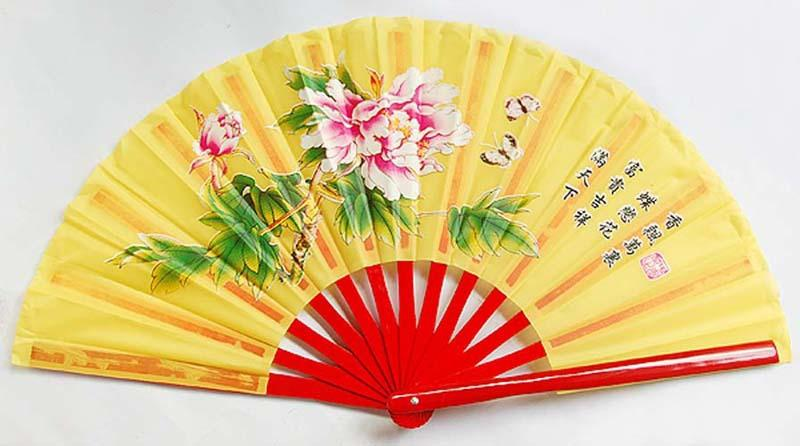 5pcs Five Colors 13.839;39;Chinese Peony Flower Butterfly Bamboo Fan Fan Bag