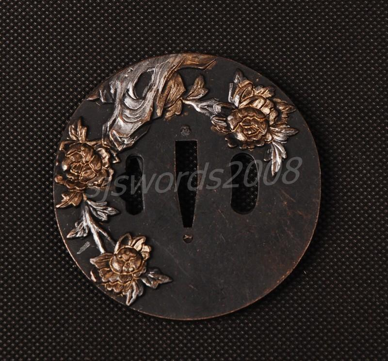 Alloy Tsuba Guard Tsuba Flower Carved For Japanese Sword Sj006