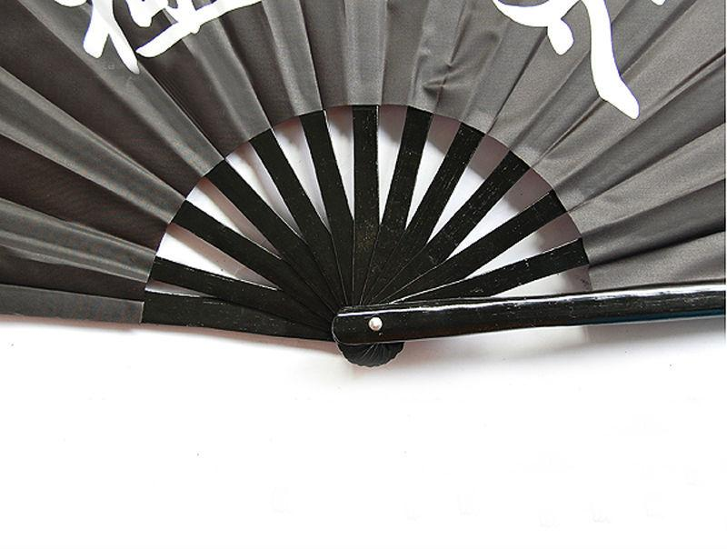 5pcs Chinese Bamboo Frame Tai Chi Martial Arts Gold Eight Trigrams Kung Fu Fan All Black
