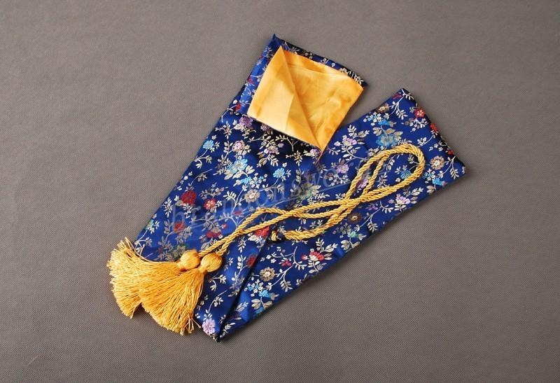 Japanese Samurai Sword Tanto Good Quality Nice Flowers Vines Blue Sword Bag