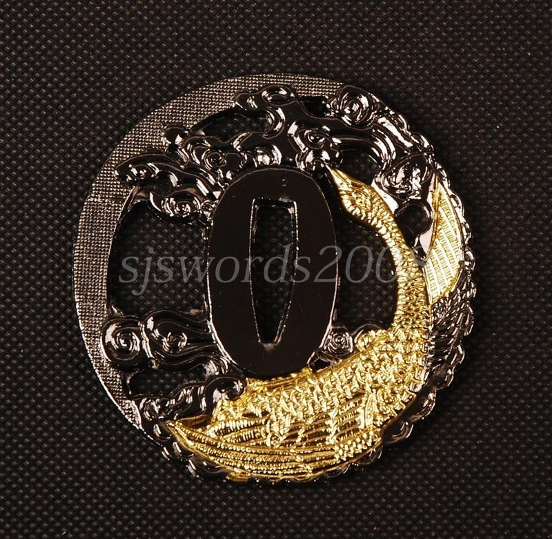 Gold Fish Arved Tsuba For Japanese Samurai Sword Katana Alloy Plate Hj76