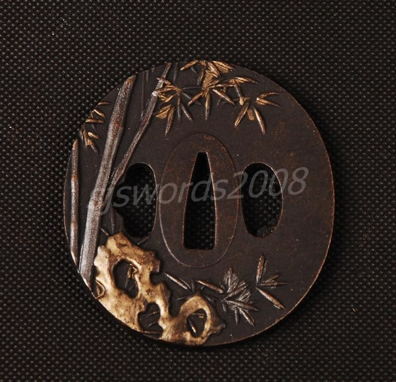 Round Tsuba For Samurai Sword Japanese Katana Alloy Guard Carved Bamboo Sj019