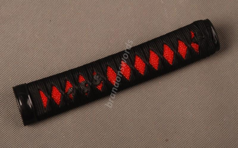 Samurai Sword Japanese Sword Wakizashi Handle Black Ito Red Rayskin Tsuka Zj7