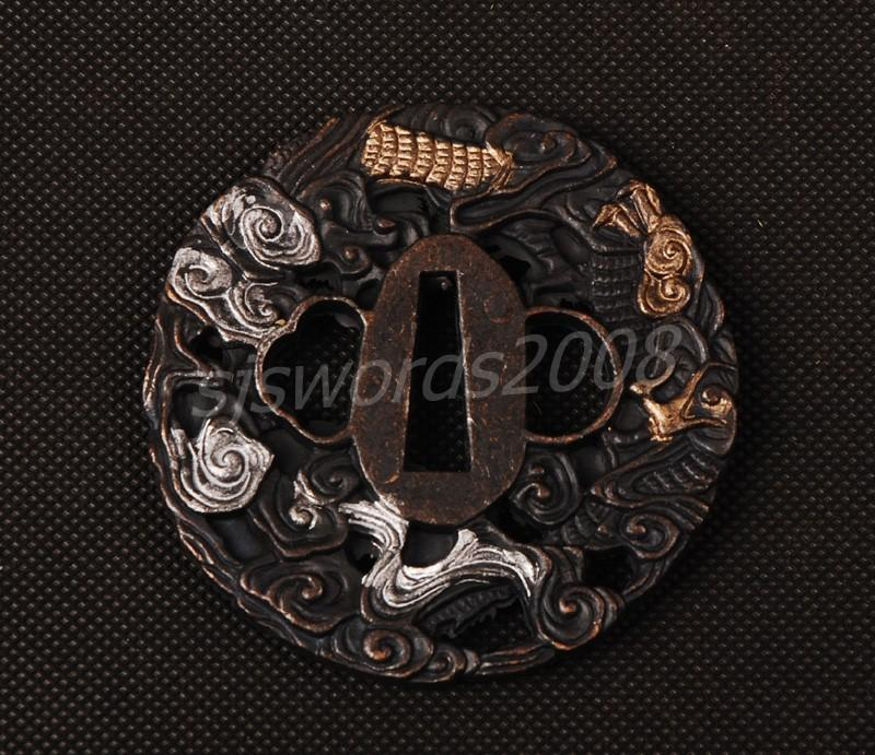 Guard Tsuba Alloy For Japanese Sword Katana Wakizashi Animals Carved Sj025
